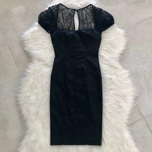 Bebe Black Satin & Lace Bandage Dress, size S